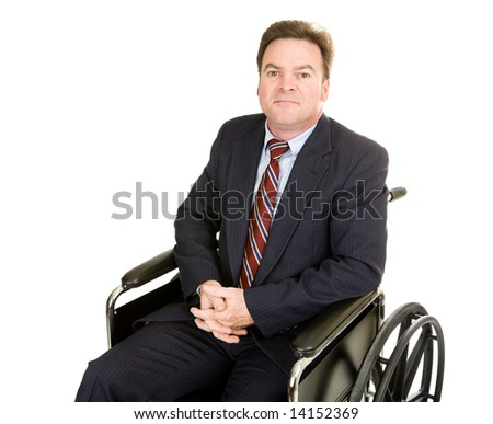Disabled businessman in wheelchair with a serious, dignified expression.  Isolated on white. - stock photo