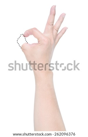 Disabled hand with dash line try to show  OK sign isolated on white background. - stock photo