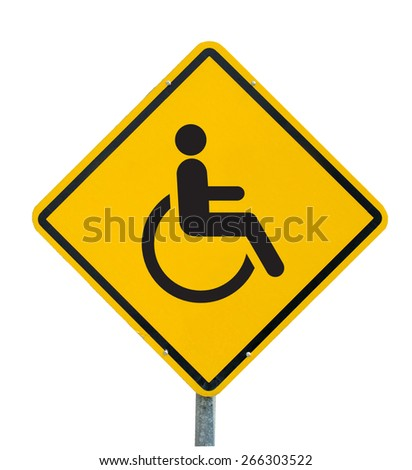 Disabled Handicap Icon yellow road sign on white background - stock photo