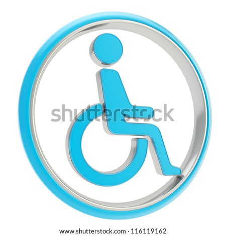 Disabled handicapped person circle round icon blue emblem isolated on white background - stock photo