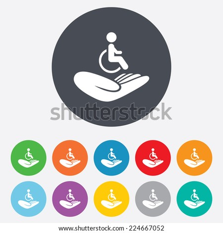 Disabled human insurance sign icon. Hand holds wheelchair man symbol. Health insurance. Round colourful 11 buttons. - stock photo
