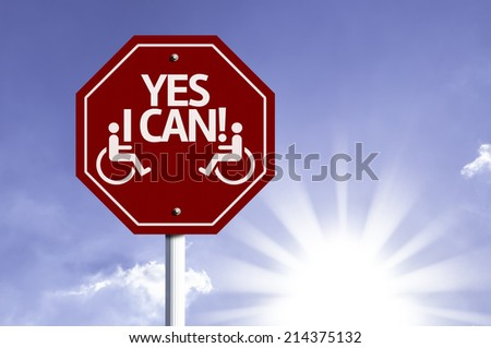 Disabled Icon with Disabled Icon sign with sun background  - stock photo