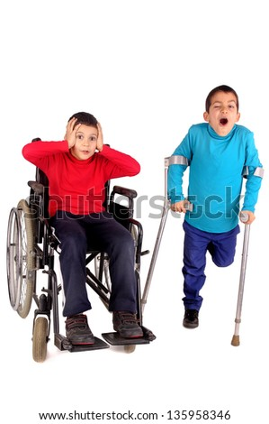 disabled kids isolated in white - stock photo