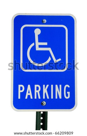 disabled parking sign isolated on white background - stock photo