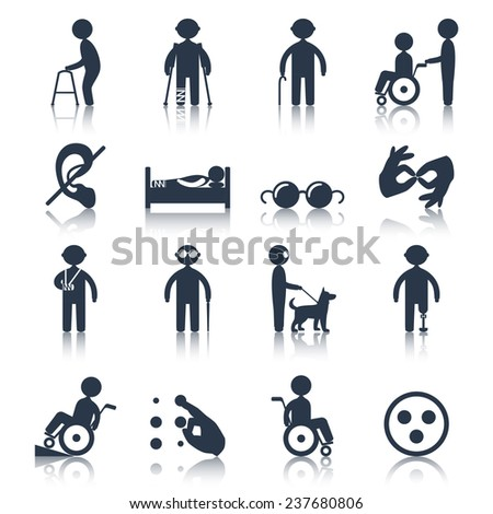 Disabled people care assistance and facilities black icons set isolated  illustration - stock photo