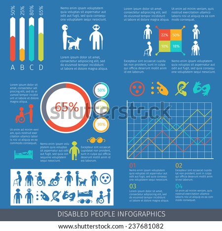 Disabled people infographic set with charts and disability symbols  illustration