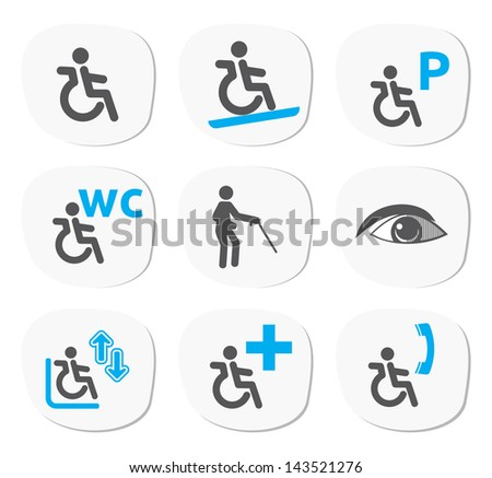 disabled people signs - stock photo