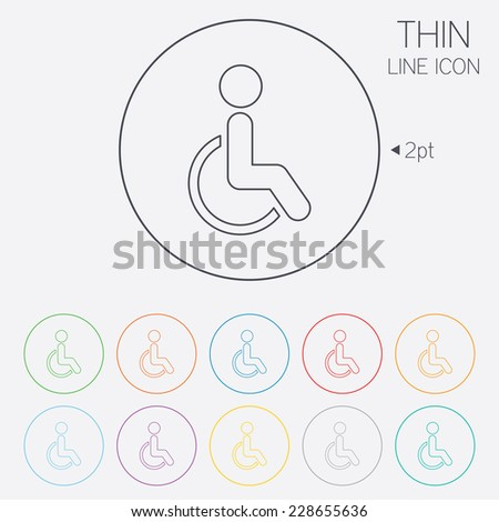 Disabled sign icon. Human on wheelchair symbol. Handicapped invalid sign. Thin line circle web icons with outline. - stock photo