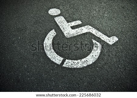 disabled sign on asphalt - stock photo