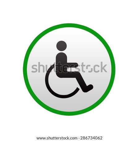 Disabled sign on white background, Illustration - stock photo