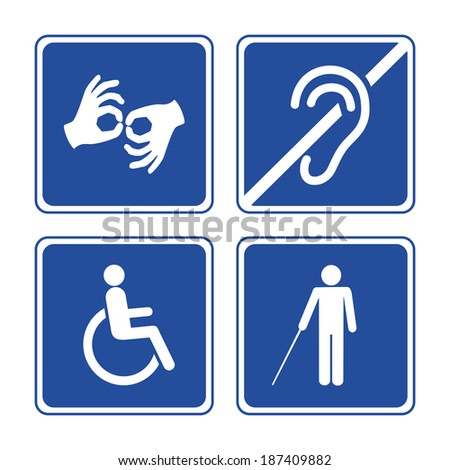 Disabled signs: deaf, blind, mute and wheelchair icons - stock photo