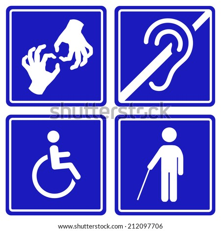Disabled signs: deaf, blind, mute and wheelchair  icons.  - stock photo