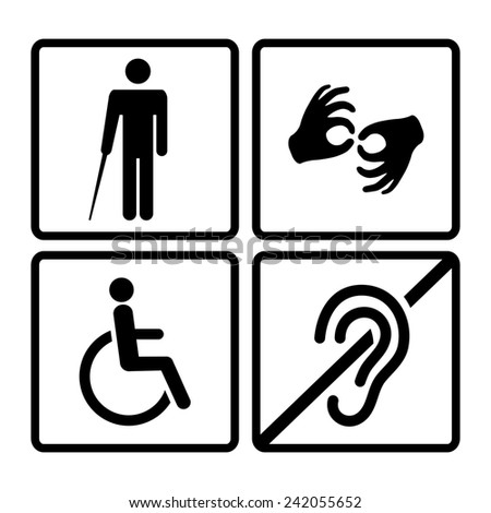 Disabled signs with deaf, dumb,mute, blind, wheelchair icons - stock photo