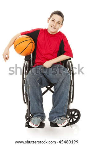 Disabled teen boy enjoys playing basketball.  Full body isolated on white. - stock photo