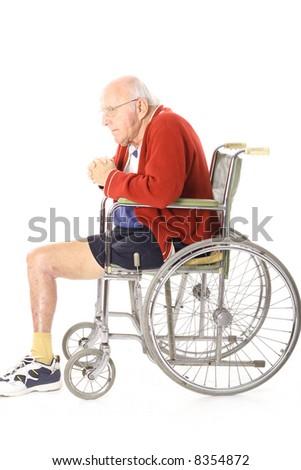 disabled veteran man in wheelchair vertical - stock photo
