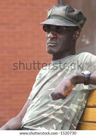 Disabled Vietnam veteran relaxing in Boulder, Colorado. - stock photo
