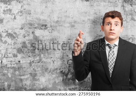 disagreement businessman gesture. cement wall texture - stock photo