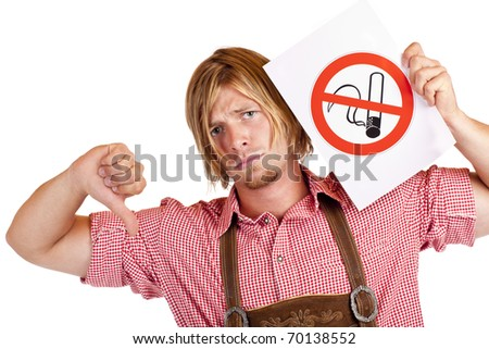 Disapointed Bavarian man in lederhose disagrees to non-smoking-rule. Isolated on white background. - stock photo