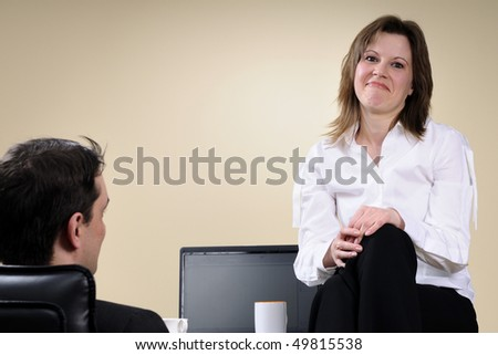 disappointed business woman after negotiations - stock photo