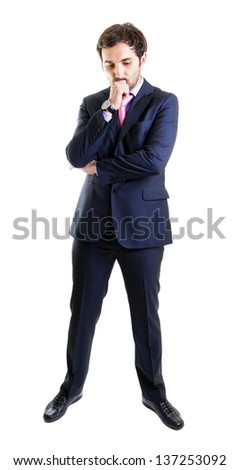 Disappointed businessman, full length, isoalted on white - stock photo