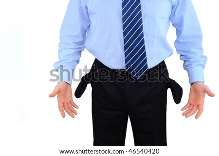 Disappointed businessman with empty pockets isolated over white - stock photo