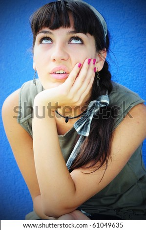 Disappointed girl - stock photo