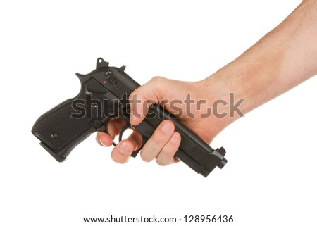 Disarming, hand giving a gun, isolated on white - stock photo