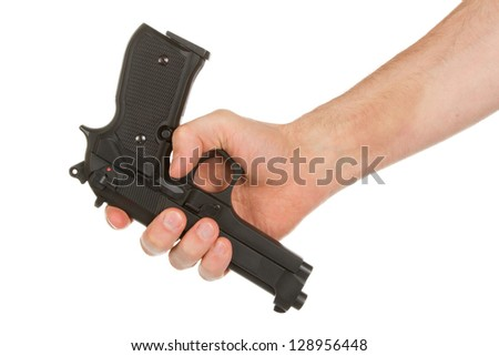 Disarming, hand giving a gun, isolated on white