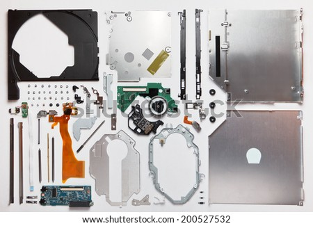 Disassembled computer optical drive cd dvd rom - stock photo