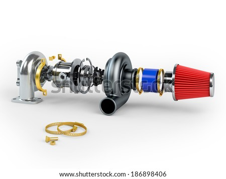 Disassembled turbocharger sistem with air filter isolated on white background - stock photo