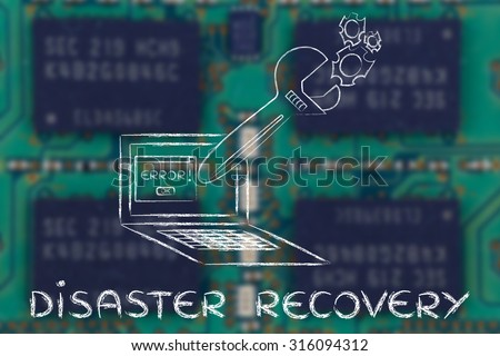 disaster recovery: oversized wrench coming out of laptop screen