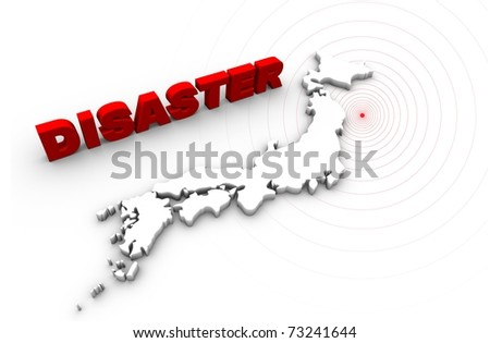 Disaster text with Japan map. Japan earthquake disaster 2011. - stock photo