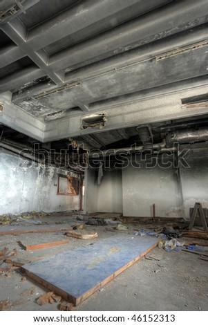 discarded building, room - stock photo