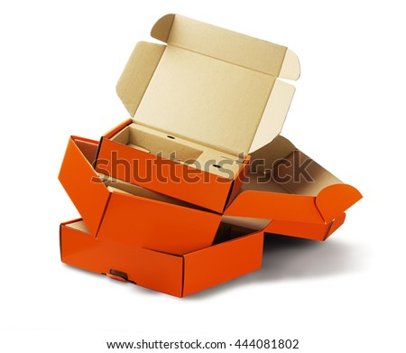 Discarded Package Boxes For Recycling on White Background - stock photo