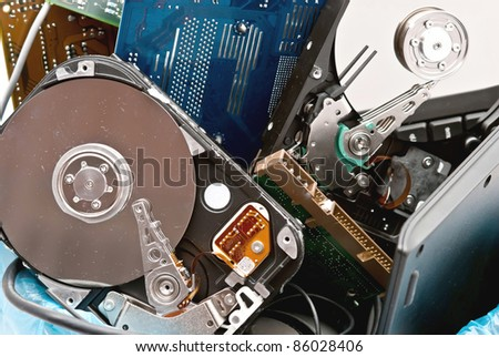 Discarded, used and old computer hardvware. - stock photo