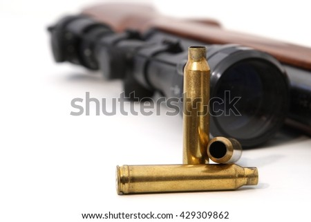 Discharged, empty fired cartridge cases - stock photo