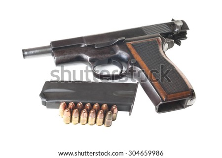 Discharged gun, holder and cartridges isolated on white background - stock photo