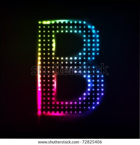 Disco alphabet. Letter B. Raster image - stock photo