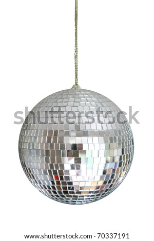 disco ball hanging on chainlet isolated on white - stock photo