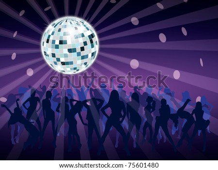 Disco ball in night fever dancing party with people - stock photo