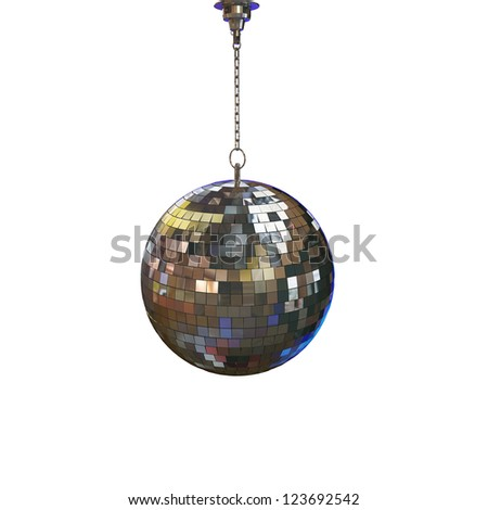 disco ball isolated on white background - stock photo