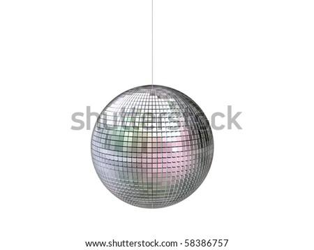 disco ball isolated on white background - stock photo