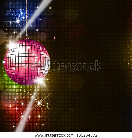 disco ball multicolor music background for active party events - stock photo
