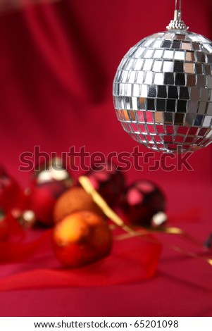 disco ball on christmas background - stock photo