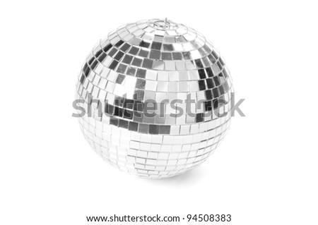 Disco ball on white background - stock photo