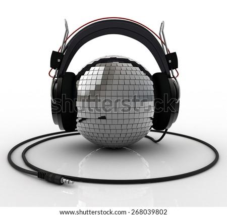 Disco Ball wearing headphones - stock photo