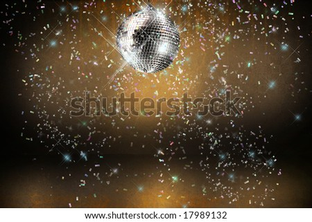 Disco ball with lights and confetti party background - stock photo