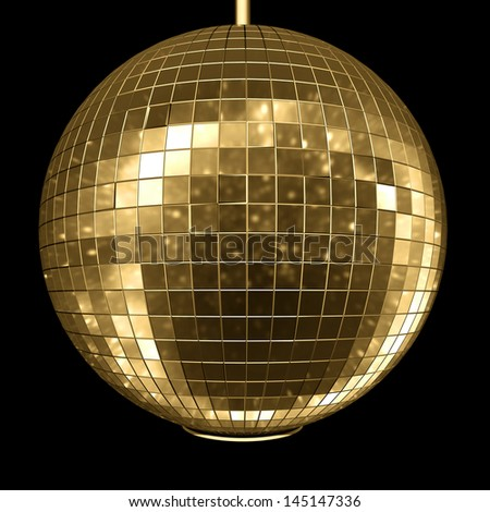 disco ball with natural reflection isolated on black - stock photo
