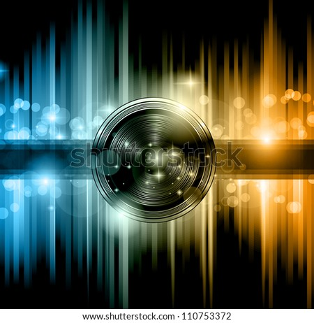 Disco club flyer with a lot of abstract colorful design elements. Ideal for poster and music background. - stock photo