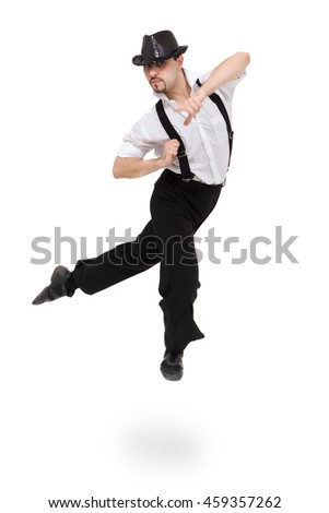 Disco dancer jumping against isolated white background with copyspace